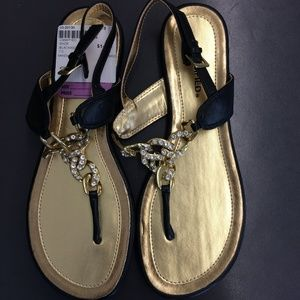 Classified Black, Gold Sandals Size 7.5